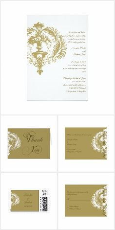 This sophisticated invitation is sure to set the tone for your special day. A classically elegant damask design with a bright white background and gold damask embellishment. Invitation Set, Wedding Invitations, Bright White Background, Damask Wedding, White Damask, Wedding Suits, Special Day, Reception, Place Card Holders