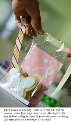 tutorial on how to package cookies or similar food favors in candy bags using scrapbook papers and ribbon
