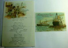 RARE 1902 NORDDEUTSCHER LLOYD BREMEN OCEAN LINER SHIP LITHO MENU & POSTCARD