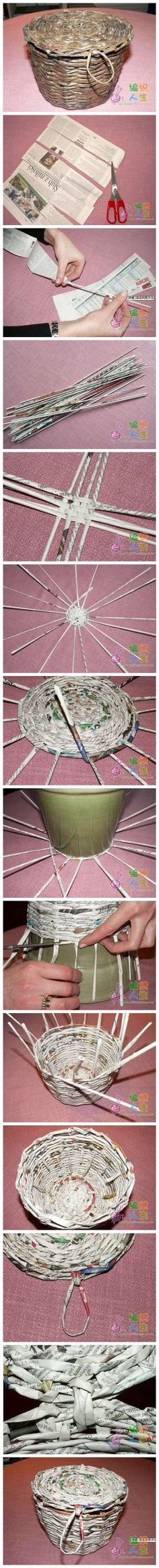 weaving a basket with newspaper!