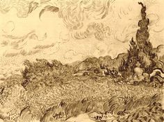 yama-bato:  Gogh 1853-1890, Vincent van, Netherlands  [+]  Wheat Field with Cypresses