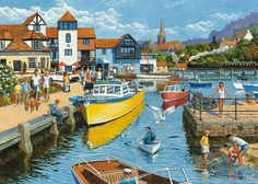 19510 Ravensburger Halcyon Days Adult Jigsaw Puzzle for sale online Ravensburger Puzzle, Nostalgic Art, Train Art, Halcyon Days, Different Types Of Wood, Wooden Jigsaw Puzzles, Historical Art, Puzzle Art, The Good Old Days