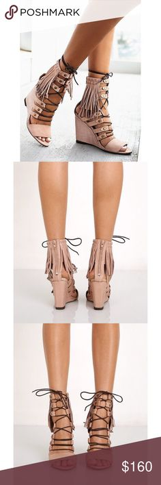 NWOT Free People 'Solstice' Sandal in Blush Luxe leather open toe wedges featuring statement fringe detailing on the ankle and contrast lace-up detailing. Exposed zip in back for easy on/off once fitted. Fabric: Leather Made in Portugal. Measurements: Runs true to size; Platform: 4.25 in; Shaft: 6 in Free People Shoes Wedges