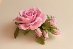 Hair comb polymer clay flowers. Pink rose with by FloraAkkerman