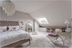 Wonderful Attic Master Bedroom with Skylight - The Urban Interior Small Loft Bedroom, Attic Master Bedroom, Attic Bedroom Designs, Loft Room, Attic Rooms, Trendy Bedroom, Home Bedroom, Bedroom Ideas, Loft Bedroom Decor