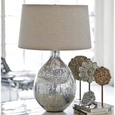 Mercury glass lamps...i'll take two please! Well... Maybe when the kids are grown and it won't get knocked over.