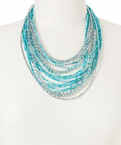 Take a look at the Turquoise & Clear Multi-Strand Necklace on #zulily today!