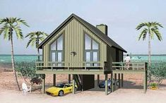 Small Stilt House Plans New Modern Beach House Pilings Jumpstationx Beach House Plan Stilt House Plans, Beach House Plans, House On Stilts, Modern House Plans, House Floor Plans, Small Beach Houses, Tiny Houses, Tiny House Exterior, River House