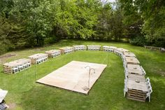 They made a pallet dance floor AND about 15 pallet tables for under $500!