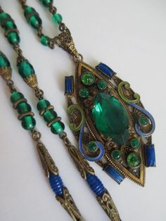 Czech Glass Brass and Enamel Necklace : costume jewelry repair chicago  - Germanpascual.Com