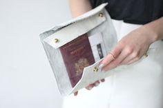 DIY Leather + See-through / vinyl clutch + envelope