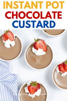 Yes, you can make rich and creamy chocolate custard (or pots de creme, as the French call them) in the Instant Pot pressure cooker! No need to melt chocolate, either--cocoa powder does the trick! One of the BEST Instant Pot chocolate desserts! Impressive Desserts, Easy Desserts, Delicious Desserts, Dessert Recipes, Yummy Food, Melt Chocolate, Chocolate Custard, Chocolate Desserts, Pressure Cooker Desserts