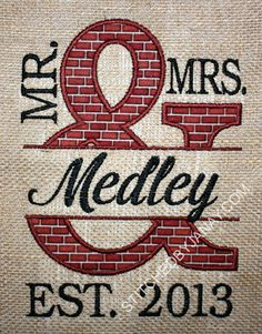 New home or wedding embroidery