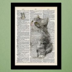 Kitten and Butterfly Dictionary Art Print
