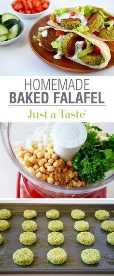 É este que faço! Crispy Homemade Baked Falafel recipe via justataste.com