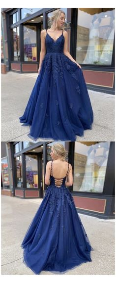 Navy Blue Prom Dresses, Pretty Prom Dresses, Blue Evening Dresses, Tulle Prom Dress, Prom Dresses Blue, Dance Dresses, Ball Dresses, Lace Dress, Formal Dresses