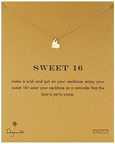 Dogeared Reminders Sweet 16 Gold Sparkle Heart Pendant Birthday Presents