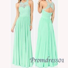 2016 cute green chiffon long prom dress with lace top, ball gown, modest prom dress #coniefox #2016prom