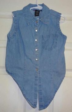 GIRLS CLOTHES SIZE 7 / 8 SLEEVELESS SNAP DOWN DENIM SHIRT TOP BLOUSE BY GIRLS