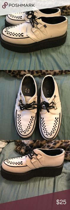 Black and white TUK creepers size 9 Good quality TUK creepers. There is a scuff on one of the toes that I posted a photo of. Other than that there are no issues. Size women's 9 TUK Shoes Platforms