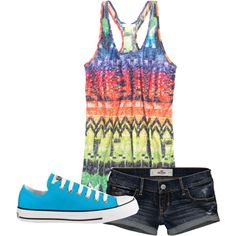 A fashion look from March 2012 featuring racerback tank tops, short shorts and blue shoes. Browse and shop related looks. Cute Fashion, Teen Fashion, Fashion Outfits, Womens Fashion, Female Fashion, Grunge Fashion, Cute Summer Outfits, Cool Outfits, Summer Clothes