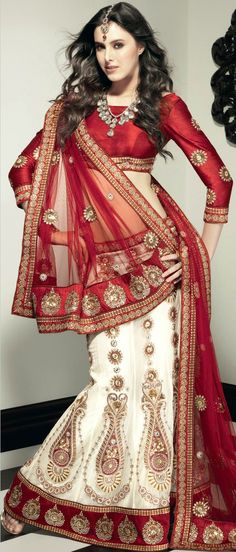 #White Net A-Line #Lehenga Choli with Dupatta @ $424.99 | Shop @ http://www.utsavfashion.com/store/sarees-large.aspx?icode=lsl11