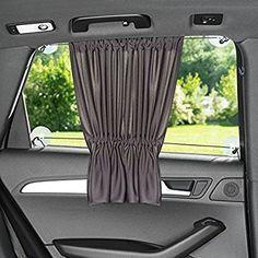Sonnenschutz fürs Auto / Baby - mit Vorhang-Funktion für einfaches Auf- und Zuziehen | UV-Schutz - Hitzeschutz & zum Abdunkeln | XXL 68 x 50 cm - auch für große Seitenscheiben | Anthrazit / Schwarz