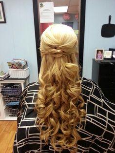 Long blond curled hair