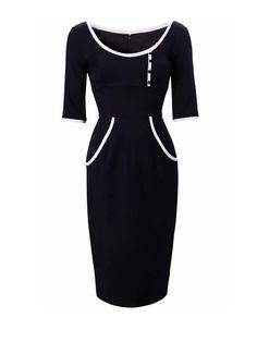 Patch Color O-Neck Half Sleeve Slim Dress