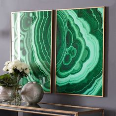 Malachite Wall Art – Viridian - This LOOKS like real cut stone, but is a high-def photo print behind glass. That's be awesome even on a smaller scale. Take a picture of agate, etc. and blow it up.