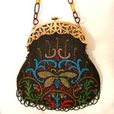Antique Vintage Beaded Purse Dragon Flies Celluloid Bag   eBay