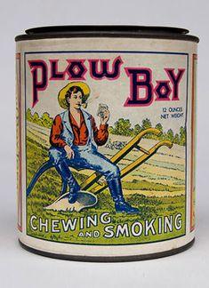 Plow Boy Tobacco Can St. Louis MO Mint Condition Paper Label Antique
