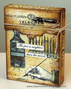 Layers of ink - Writing Recipe Box by Anna-Karin, made with a Sizzix die by Eileen Hull and stamps by Tim Holtz.