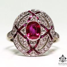 18 k and platinum Burma ruby and diamonds ring on sale now