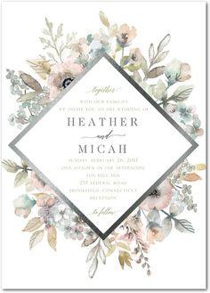 Diamond Blossoms - Signature Foil Wedding Invitations - Lady Jae - Aloe - Green : Front