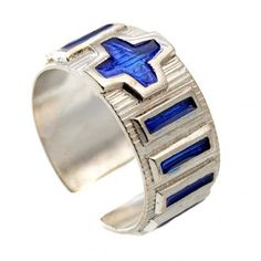 Anello decina metallo argento 800 smalto blu | vendita online su HOLYART