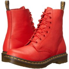 Dr. Martens Pascal (Buffalo Blood Virginia) Women's Lace-up Boots ($81) ❤ liked on Polyvore featuring shoes, boots, ankle booties, red, ankle boots, red ankle booties, lace up bootie, lace up ankle boots and red lace up booties