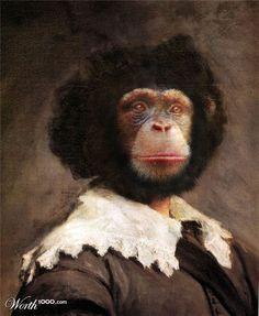 """""""Leonardo Di Chimpi"""" anthropomorphic monkey art by Nergal"""