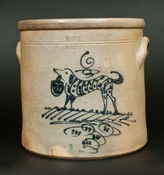 HARTS / FULTON New York Dog Crock -- March 1, 2014 Stoneware Auction by Crocker Farm, Inc.