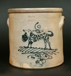 HARTS / FULTON New York Dog Crock -- March 1, 2014 Stoneware Auction by Crocker Farm, Inc.