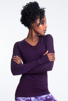 Climawear Yasmine Long Sleeve in Purple Patterned Leggings, Blue Leggings, Hot Pants, Bra Tops, Beachwear, Long Sleeve Tops, Active Wear, Model, Sleeves