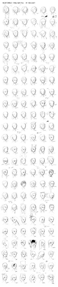 Hair Styles - Master File by =ron-guyatt join us http://pinterest.com/koztar/cg-anatomy-tutorials-for-artists/                                                                                                                                                      More