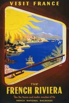 1950's Visit France French Riviera Travel Railway Poster