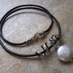 Choker with leather, pearl and sterling squiggle / rustic handcrafted artisan jewelry
