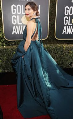 See all the stars on the red carpet at the 2019 Golden Globe Awards Gala Dresses, Red Carpet Dresses, Blue Dresses, Star Fashion, Fashion Outfits, Women's Fashion, Runway Fashion, High Fashion, Gemma Chan