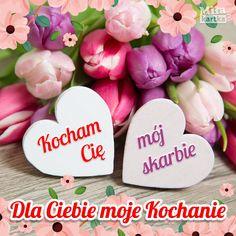 Dla Ciebie mój Skarbie #walentynki #polska #miłość #kochanie #kwiaty #tulipany #poland #kartki #valentines #love #kocham #serce #relationship #cytaty Good Morning Picture, Morning Pictures, Fun Learning, Valentines Day, Place Card Holders, Love, Place Cards, Peace Dove, Cool Things