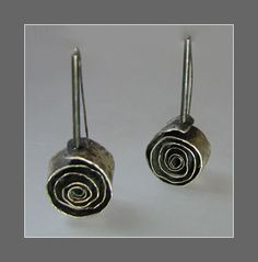 Spiral Earrings- hammered silver and incredibly unique!!!! Connie Fox
