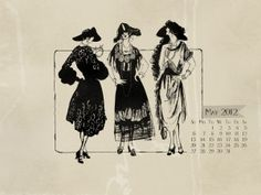 1920's fashion May 2012 desktop calendar wallpaper