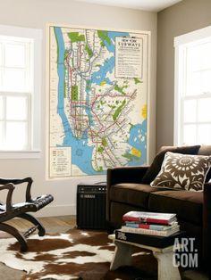 1949, New York Subway Map, New York, United States Wall Mural at Art.com