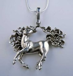 Sterling Silver Dancing Horse Pendant Necklace. One of my most popular pieces, bet you look at this Dancing Horse and agree. I love the animation of her flowing mane and tail. Must be salsa dancing. C